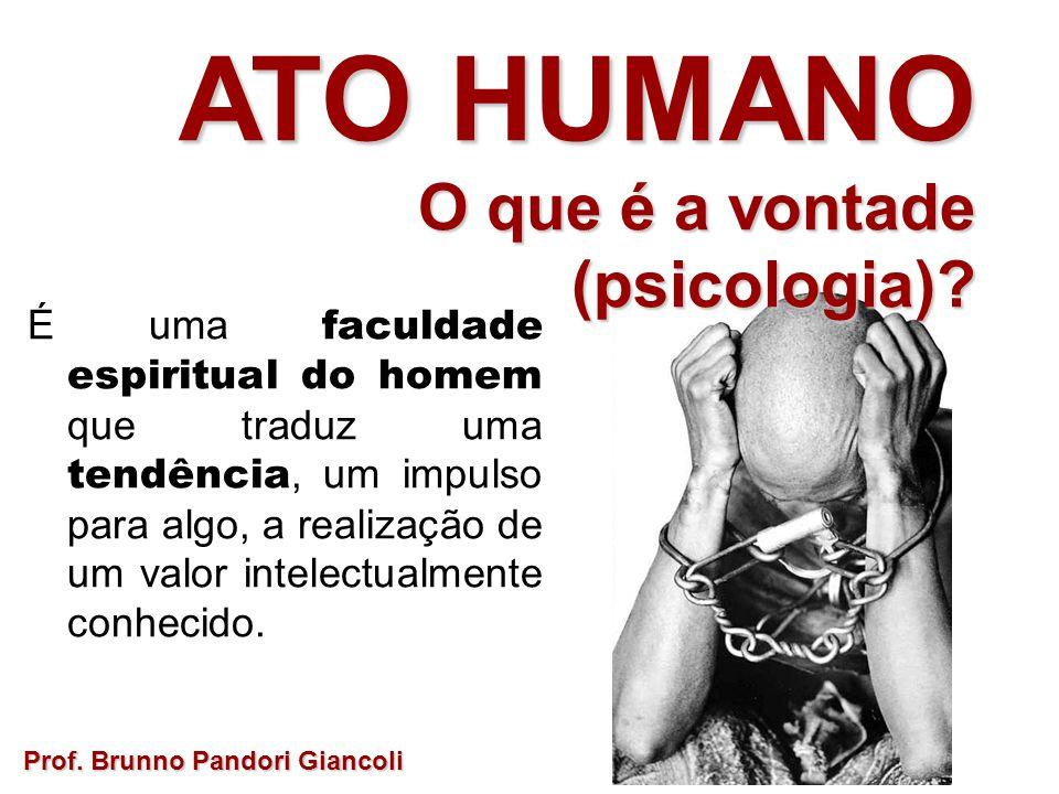 É uma faculdade espiritual do homem que traduz uma tendência, um impulso para algo, a realização de um valor intelectualmente conhecido. Prof. Brunno