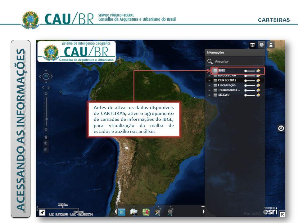 CARTEIRAS ACESSANDO AS INFORMAÇÕES Antes de ativar os dados disponíveis de CARTEIRAS, ative o agrupamento de camadas de informações do IBGE, para visu