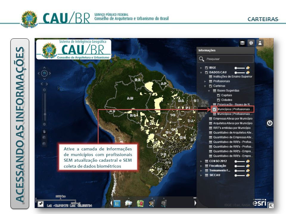 CARTEIRAS Ative a camada de informações de municípios com profissionais SEM atualização cadastral e SEM coleta de dados biométricos