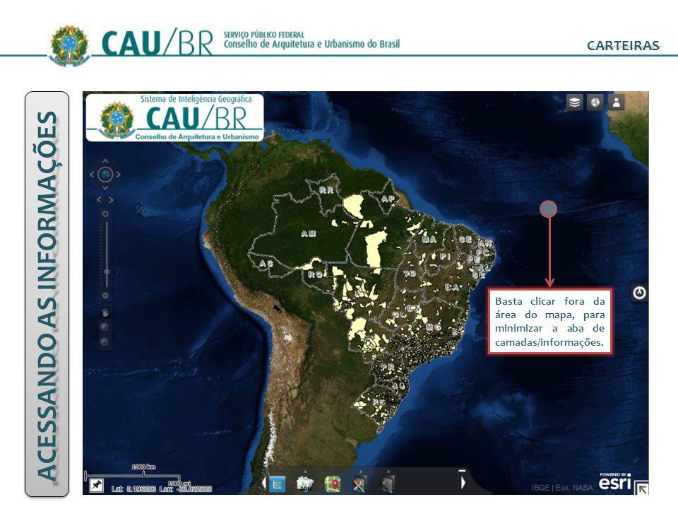 ACESSANDO AS INFORMAÇÕES CARTEIRAS Basta clicar fora da área do mapa, para minimizar a aba de camadas/informações.