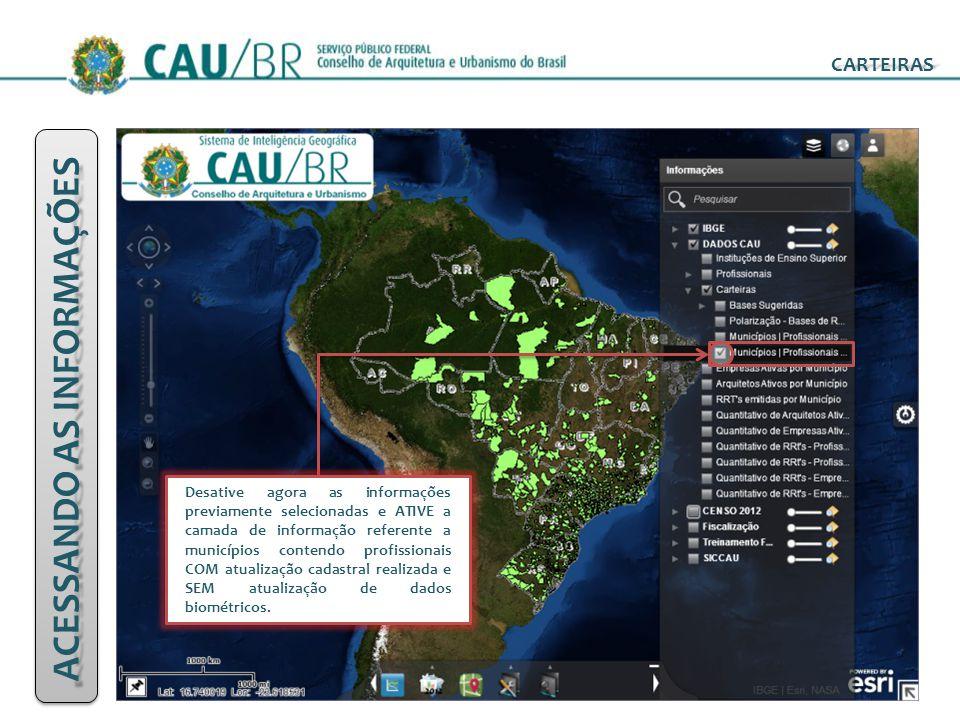 ACESSANDO AS INFORMAÇÕES CARTEIRAS Desative agora as informações previamente selecionadas e ATIVE a camada de informação referente a municípios conten