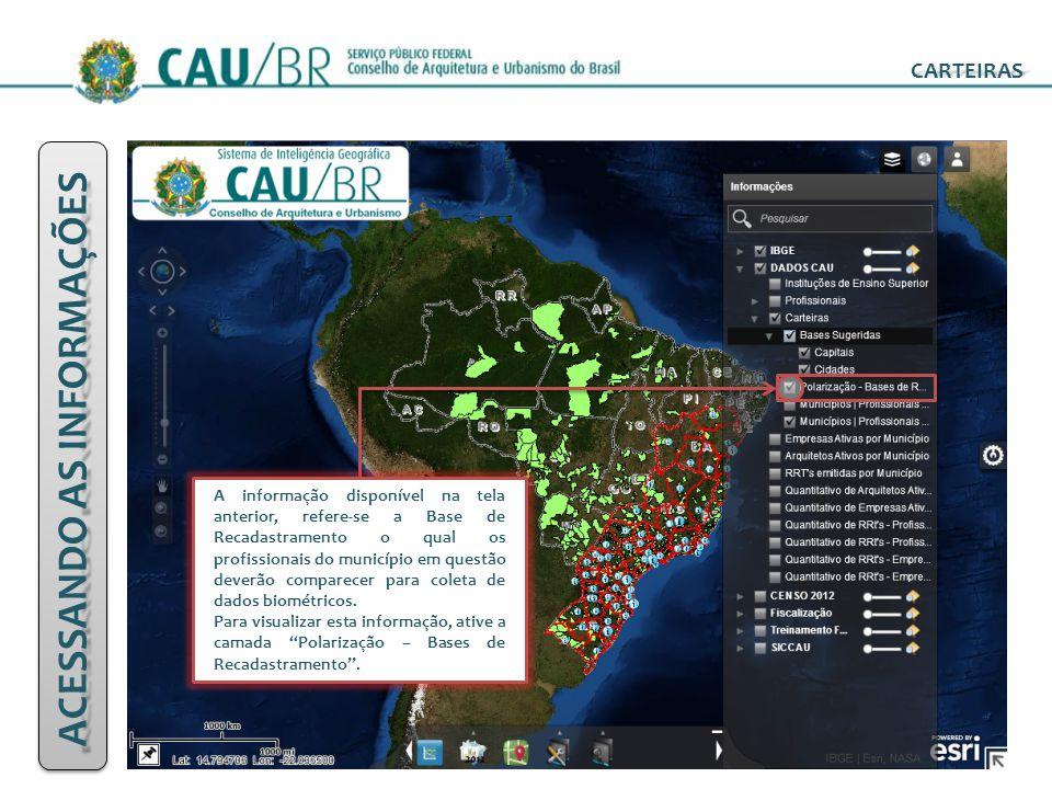 ACESSANDO AS INFORMAÇÕES CARTEIRAS A informação disponível na tela anterior, refere-se a Base de Recadastramento o qual os profissionais do município