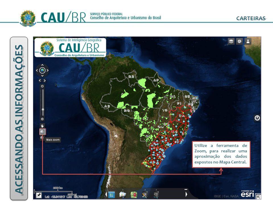 ACESSANDO AS INFORMAÇÕES CARTEIRAS Utilize a ferramenta de Zoom, para realizar uma aproximação dos dados expostos no Mapa Central.