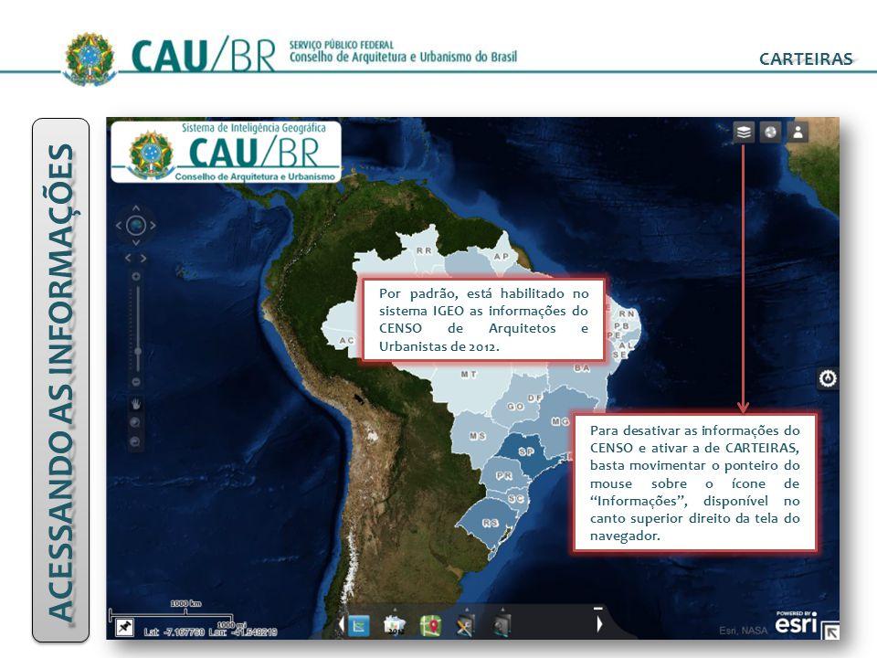 CARTEIRAS ACESSANDO AS INFORMAÇÕES Antes de ativar os dados disponíveis de CARTEIRAS, ative o agrupamento de camadas de informações do IBGE, para visualização da malha de estados e auxílio nas análises