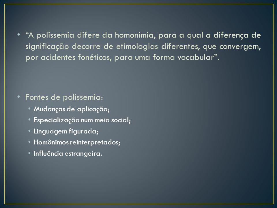 A polissemia difere da homonímia, para a qual a diferença de significação decorre de etimologias diferentes, que convergem, por acidentes fonéticos, p