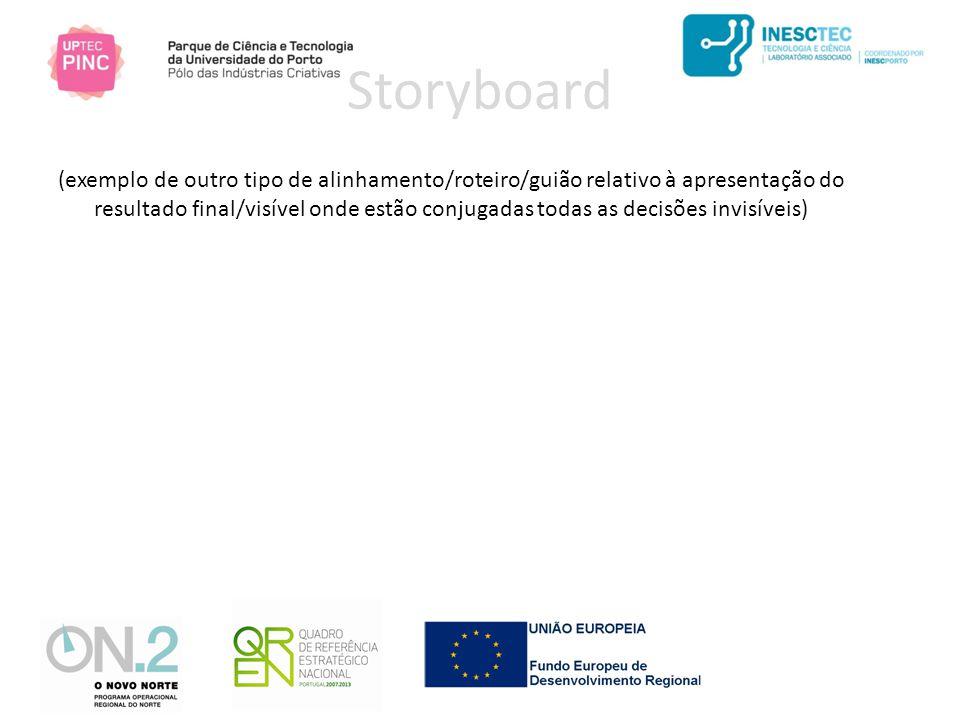 Storyboard (exemplo de outro tipo de alinhamento/roteiro/guião relativo à apresentação do resultado final/visível onde estão conjugadas todas as decisões invisíveis)