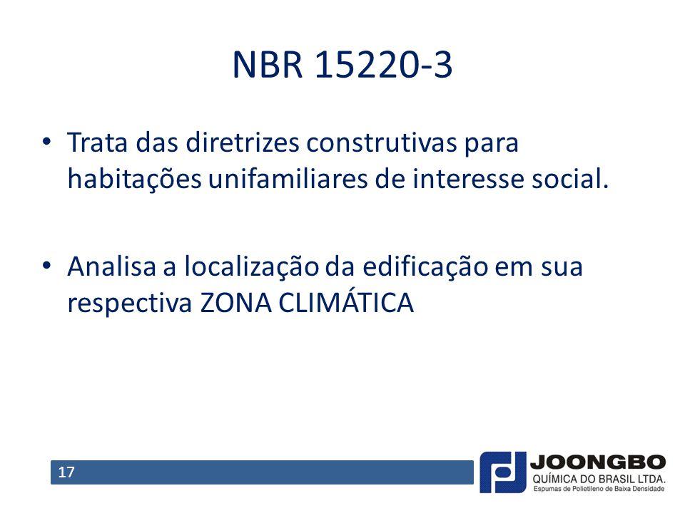 NBR 15220-3 Trata das diretrizes construtivas para habitações unifamiliares de interesse social. Analisa a localização da edificação em sua respectiva