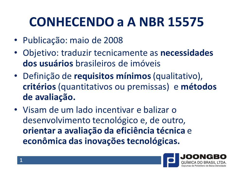 CONHECENDO a A NBR 15575 Publicação: maio de 2008 Objetivo: traduzir tecnicamente as necessidades dos usuários brasileiros de imóveis Definição de req