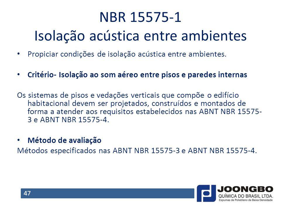 NBR 155751 Isolação acústica entre ambientes Propiciar condições de isolação acústica entre ambientes. Critério- Isolação ao som aéreo entre pisos e p