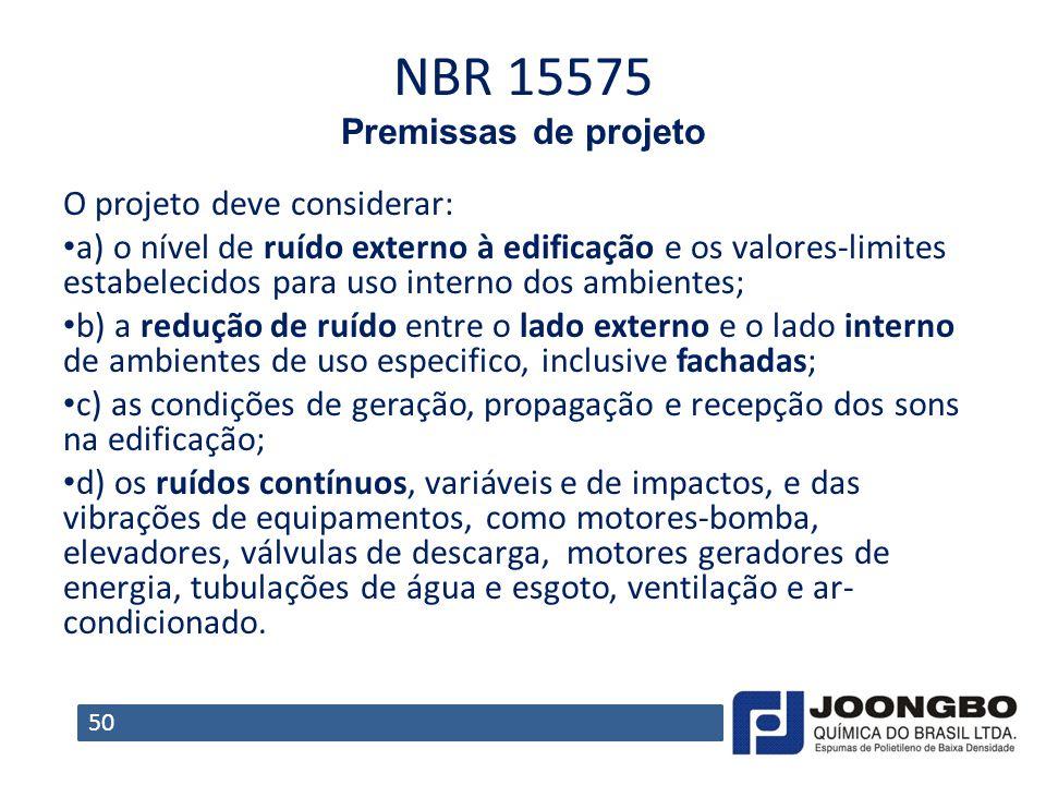 NBR 15575 Premissas de projeto O projeto deve considerar: a) o nível de ruído externo à edificação e os valores-limites estabelecidos para uso interno