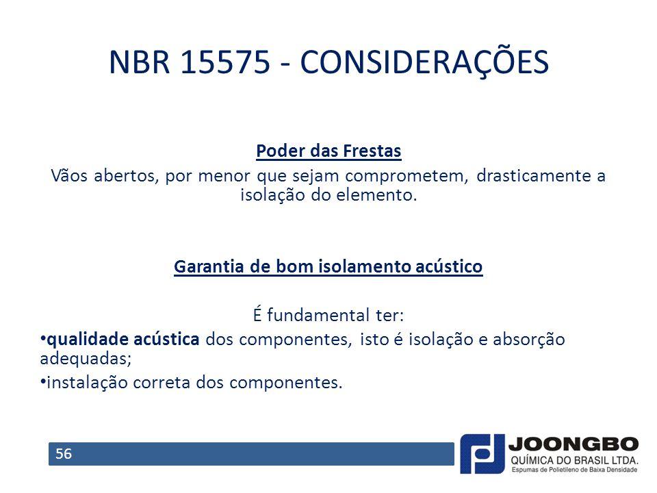 NBR 15575 - CONSIDERAÇÕES Poder das Frestas Vãos abertos, por menor que sejam comprometem, drasticamente a isolação do elemento. Garantia de bom isola