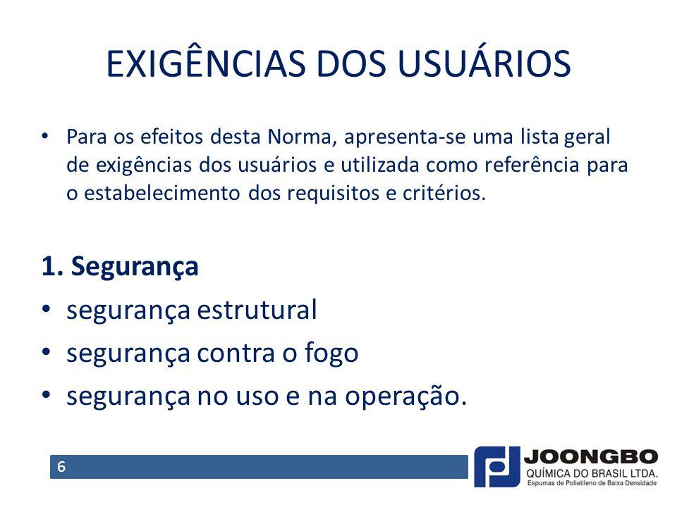 EXIGÊNCIAS DOS USUÁRIOS Para os efeitos desta Norma, apresenta-se uma lista geral de exigências dos usuários e utilizada como referência para o estabe