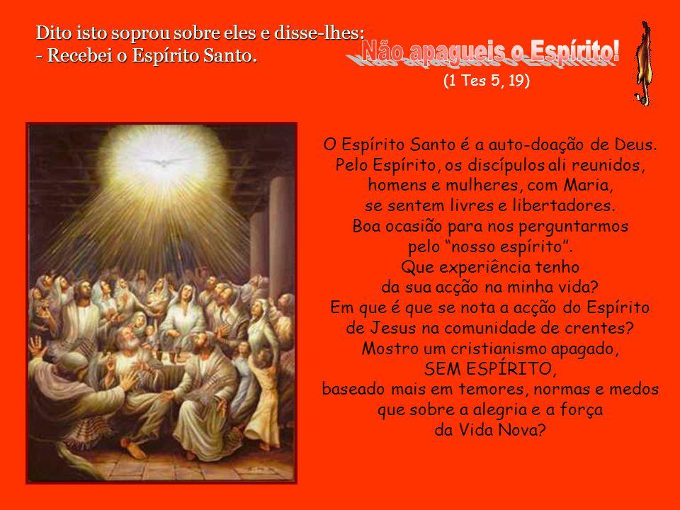 Dito isto soprou sobre eles e disse-lhes: - Recebei o Espírito Santo.