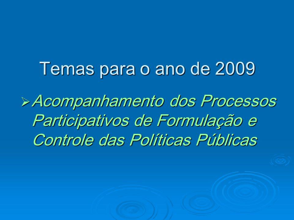 Temas para o ano de 2009 Acompanhamento dos Processos Participativos de Formulação e Controle das Políticas Públicas Acompanhamento dos Processos Participativos de Formulação e Controle das Políticas Públicas