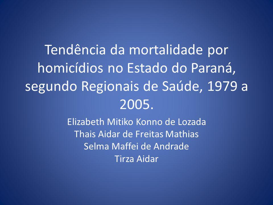 Tendência da mortalidade por homicídios no Estado do Paraná, segundo Regionais de Saúde, 1979 a 2005.