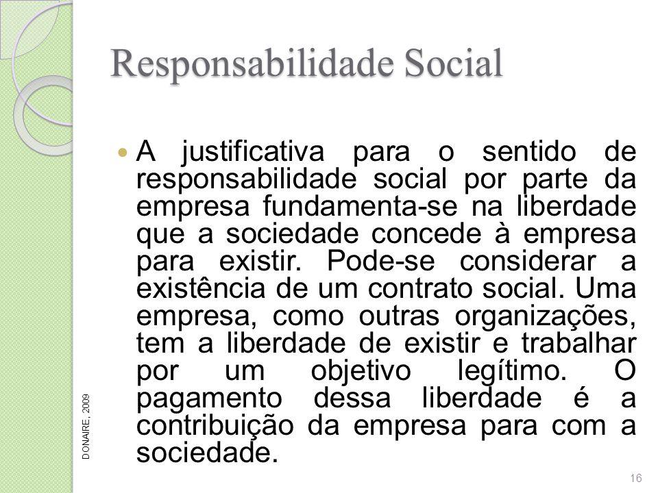 Responsabilidade Social A justificativa para o sentido de responsabilidade social por parte da empresa fundamenta-se na liberdade que a sociedade conc