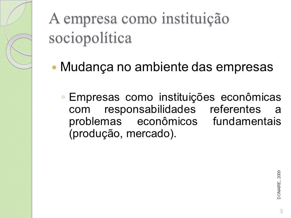 A empresa como instituição sociopolítica Mudança no ambiente das empresas Empresas como instituições econômicas com responsabilidades referentes a pro