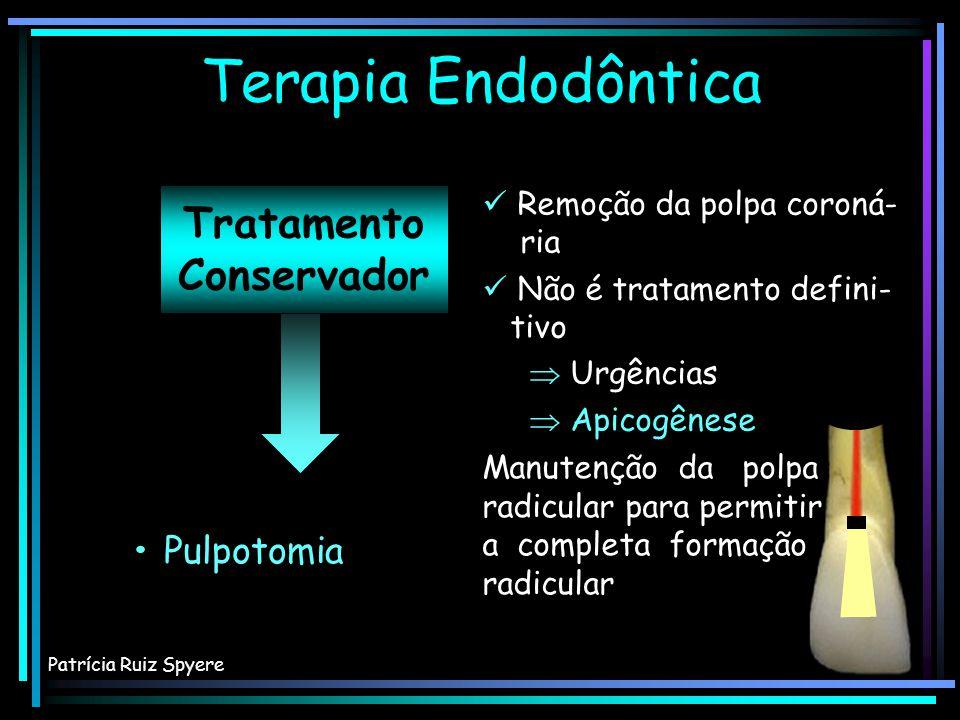 Tratamento Conservador Terapia Endodôntica Patrícia Ruiz Spyere Proteção pulpar Pulpotomia Proteção pulpar Pulpotomia Remoção da polpa coroná- ria Rem