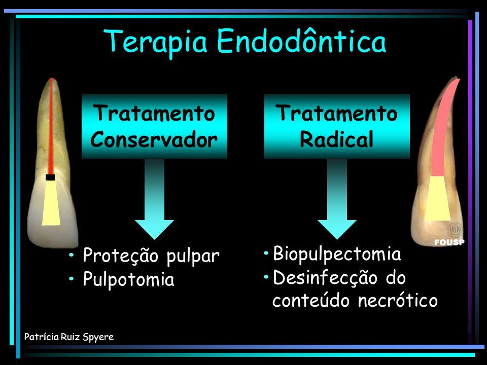 Tratamento Conservador Tratamento Radical Terapia Endodôntica Patrícia Ruiz Spyere Proteção pulpar Pulpotomia Proteção pulpar Pulpotomia Biopulpectomi