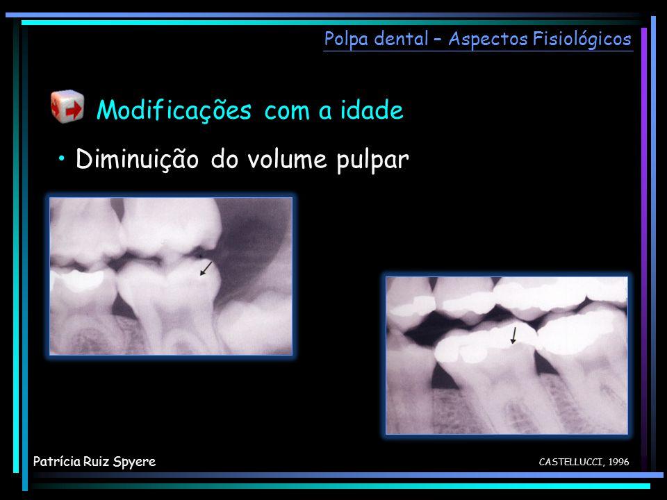 Modificações com a idade Polpa dental – Aspectos Fisiológicos CASTELLUCCI, 1996 Diminuição do volume pulpar Patrícia Ruiz Spyere