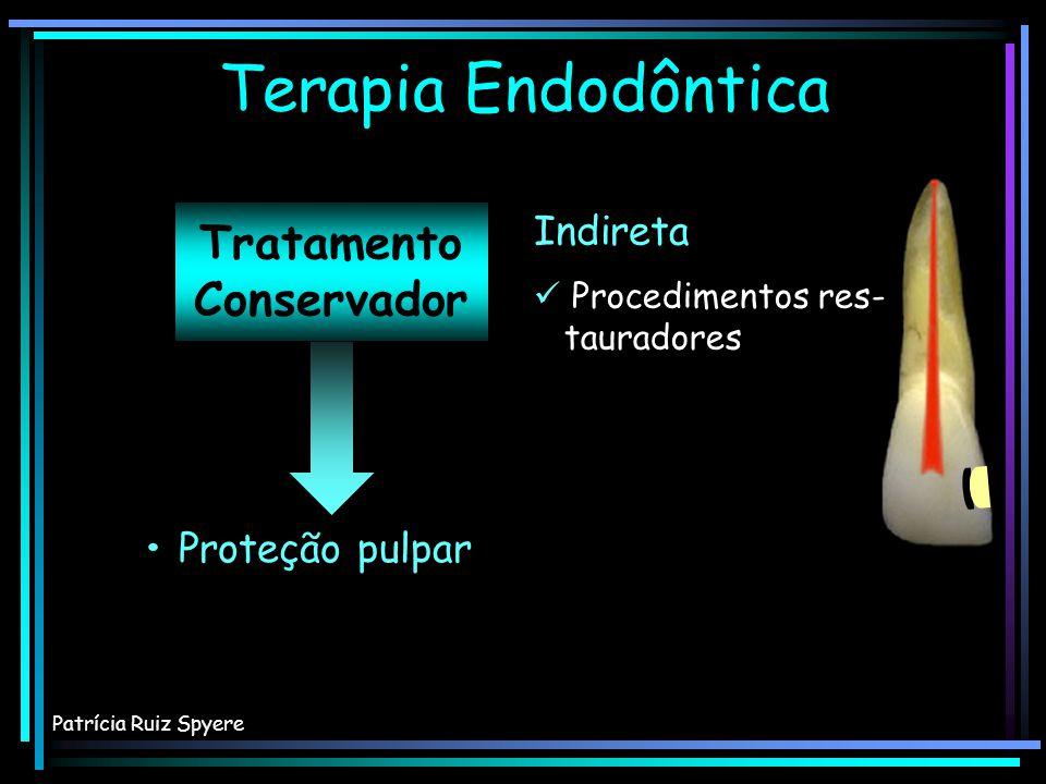 Tratamento Conservador Proteção pulpar Terapia Endodôntica Patrícia Ruiz Spyere Direta Indireta Exposições peque- nas e acidentais Ausência de contaminação Paciente jovem Exposições peque- nas e acidentais Ausência de contaminação Paciente jovem Procedimentos res- tauradores Procedimentos res- tauradores