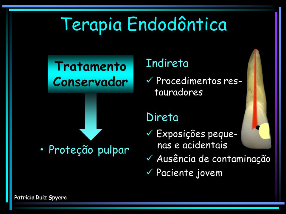 Tratamento Conservador Proteção pulpar Terapia Endodôntica Patrícia Ruiz Spyere Direta Indireta Exposições peque- nas e acidentais Ausência de contami