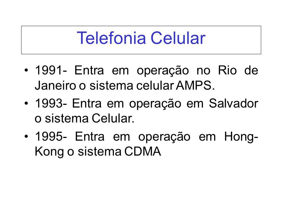 1991- Entra em operação no Rio de Janeiro o sistema celular AMPS. 1993- Entra em operação em Salvador o sistema Celular. 1995- Entra em operação em Ho