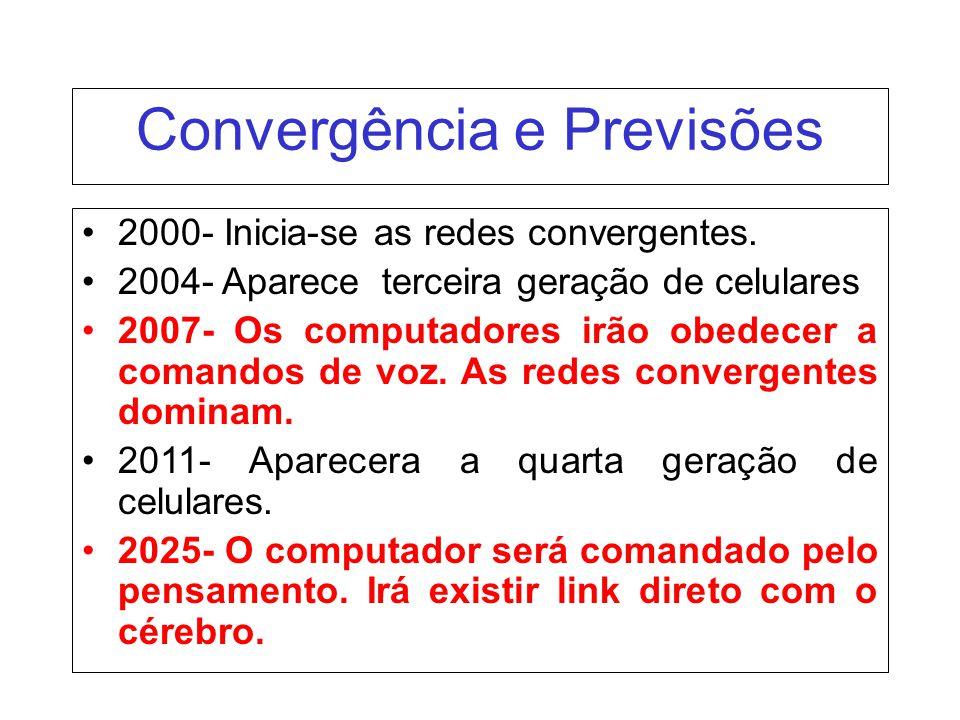 2000- Inicia-se as redes convergentes. 2004- Aparece terceira geração de celulares 2007- Os computadores irão obedecer a comandos de voz. As redes con
