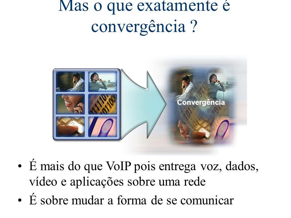 É mais do que VoIP pois entrega voz, dados, vídeo e aplicações sobre uma rede É sobre mudar a forma de se comunicar Convergência O mundo está convergindo Mas o que exatamente é convergência ?