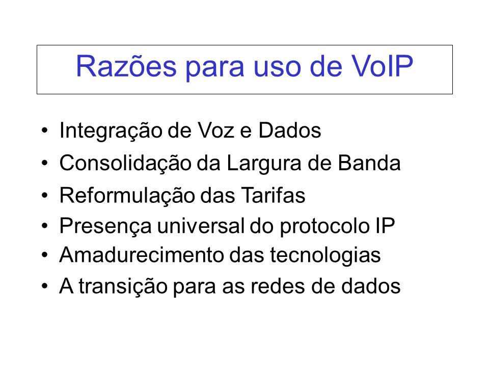 Integração de Voz e Dados Consolidação da Largura de Banda Reformulação das Tarifas Presença universal do protocolo IP Amadurecimento das tecnologias A transição para as redes de dados Razões para uso de VoIP