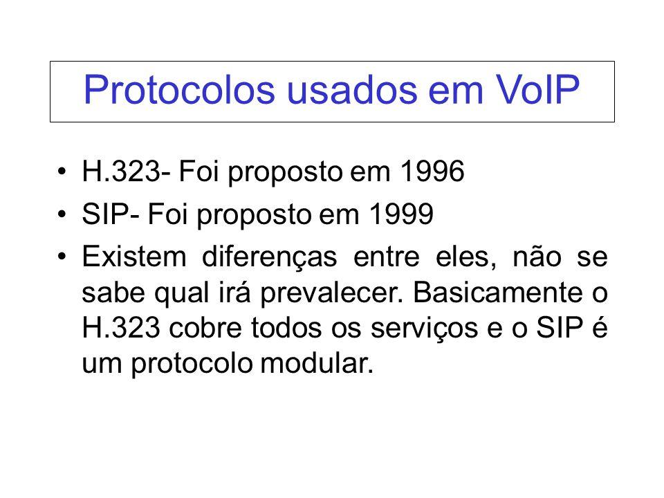 H.323- Foi proposto em 1996 SIP- Foi proposto em 1999 Existem diferenças entre eles, não se sabe qual irá prevalecer. Basicamente o H.323 cobre todos