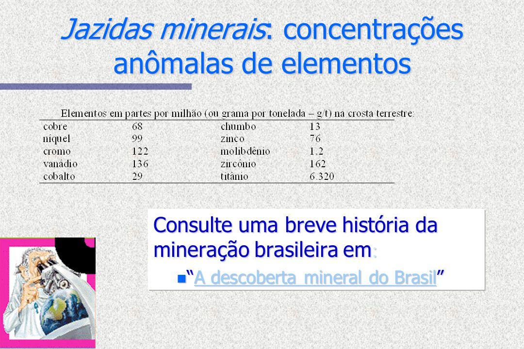 Jazidas minerais: concentrações anômalas de elementos Consulte uma breve história da mineração brasileira em : nA descoberta mineral do BrasilA descob