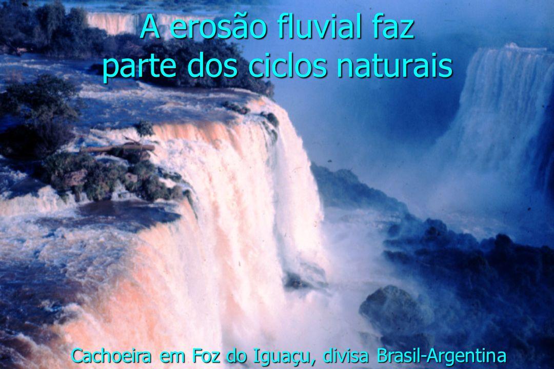 A erosão fluvial faz parte dos ciclos naturais Cachoeira em Foz do Iguaçu, divisa Brasil-Argentina