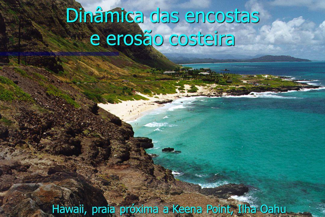Dinâmica das encostas e erosão costeira Hawaii, praia próxima a Keena Point, Ilha Oahu