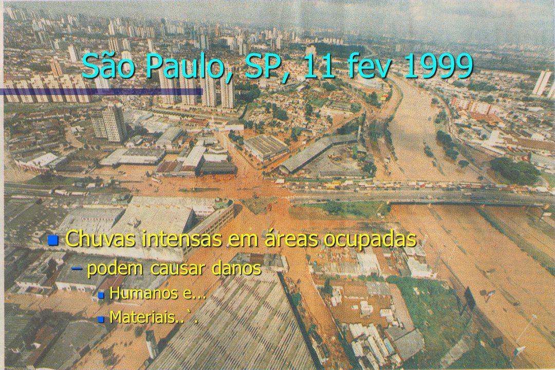 São Paulo, SP, 11 fev 1999 n Chuvas intensas em áreas ocupadas –podem causar danos n Humanos e... n Materiais..`.