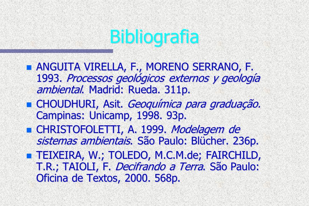 Bibliografia n ANGUITA VIRELLA, F., MORENO SERRANO, F. 1993. Processos geológicos externos y geología ambiental. Madrid: Rueda. 311p. n CHOUDHURI, Asi