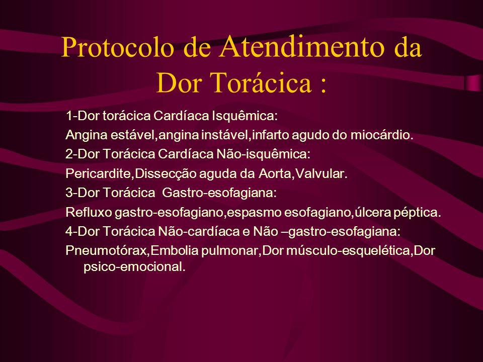 Protocolo de Atendimento da Dor Torácica : 1-Dor torácica Cardíaca Isquêmica: Angina estável,angina instável,infarto agudo do miocárdio. 2-Dor Torácic