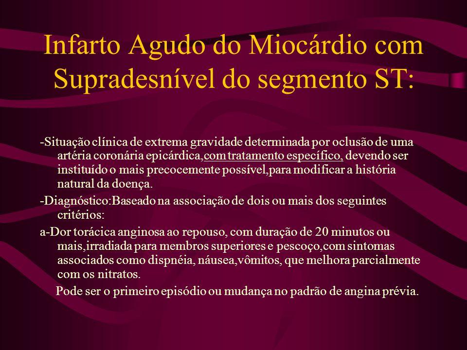 Infarto Agudo do Miocárdio com Supradesnível do segmento ST: -Situação clínica de extrema gravidade determinada por oclusão de uma artéria coronária e