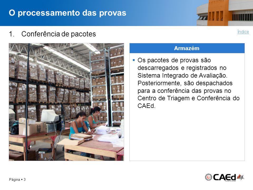O processamento das provas Página 3 1.Conferência de pacotes Armazém Os pacotes de provas são descarregados e registrados no Sistema Integrado de Aval