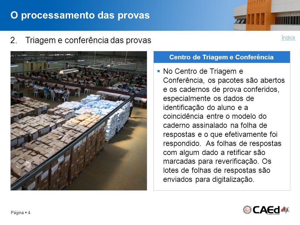 O processamento das provas Página 4 2.Triagem e conferência das provas Centro de Triagem e Conferência No Centro de Triagem e Conferência, os pacotes