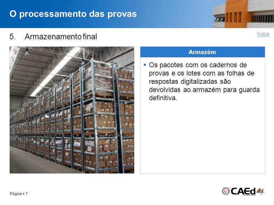O processamento das provas Página 7 5. Armazenamento final Armazém Os pacotes com os cadernos de provas e os lotes com as folhas de respostas digitali