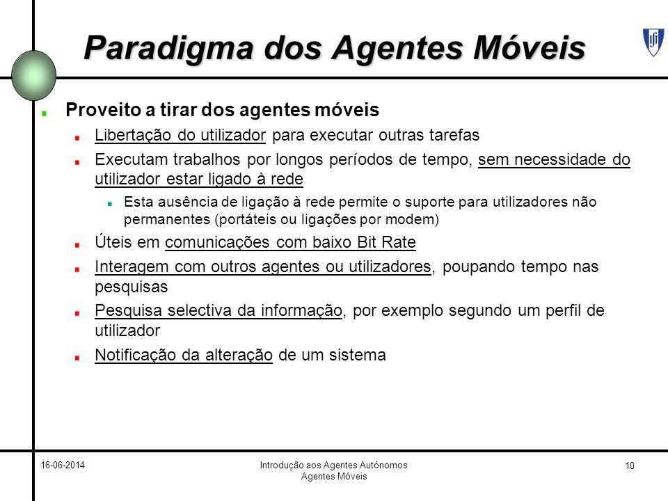 10 16-06-2014Introdução aos Agentes Autónomos Agentes Móveis Paradigma dos Agentes Móveis Proveito a tirar dos agentes móveis Libertação do utilizador