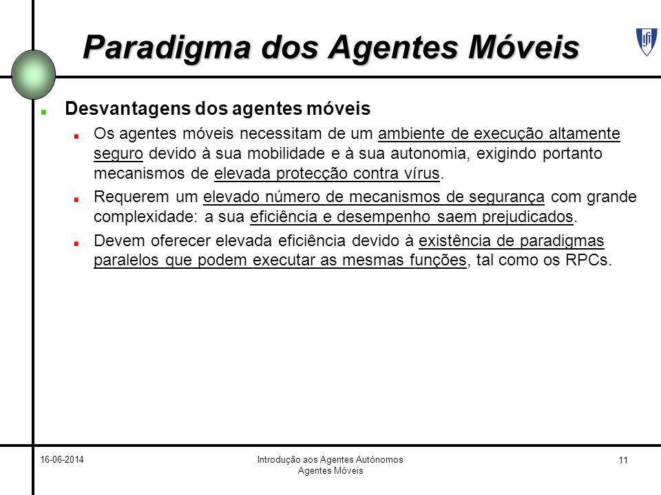 11 16-06-2014Introdução aos Agentes Autónomos Agentes Móveis Paradigma dos Agentes Móveis Desvantagens dos agentes móveis Os agentes móveis necessitam