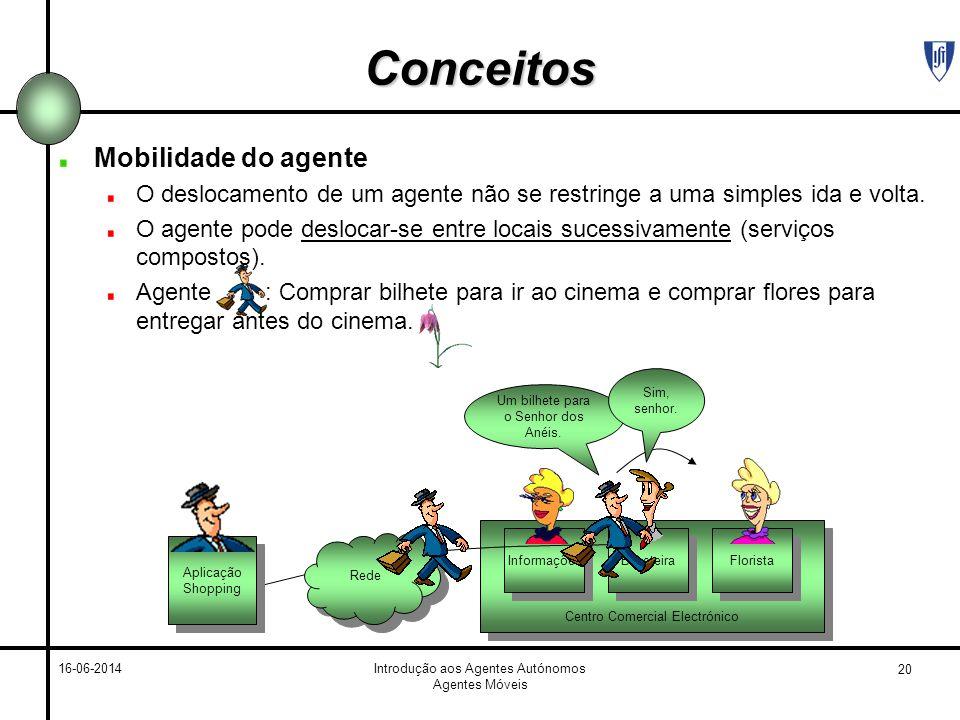 20 16-06-2014Introdução aos Agentes Autónomos Agentes Móveis Centro Comercial Electrónico Informações Bilheteira Florista Conceitos Mobilidade do agen