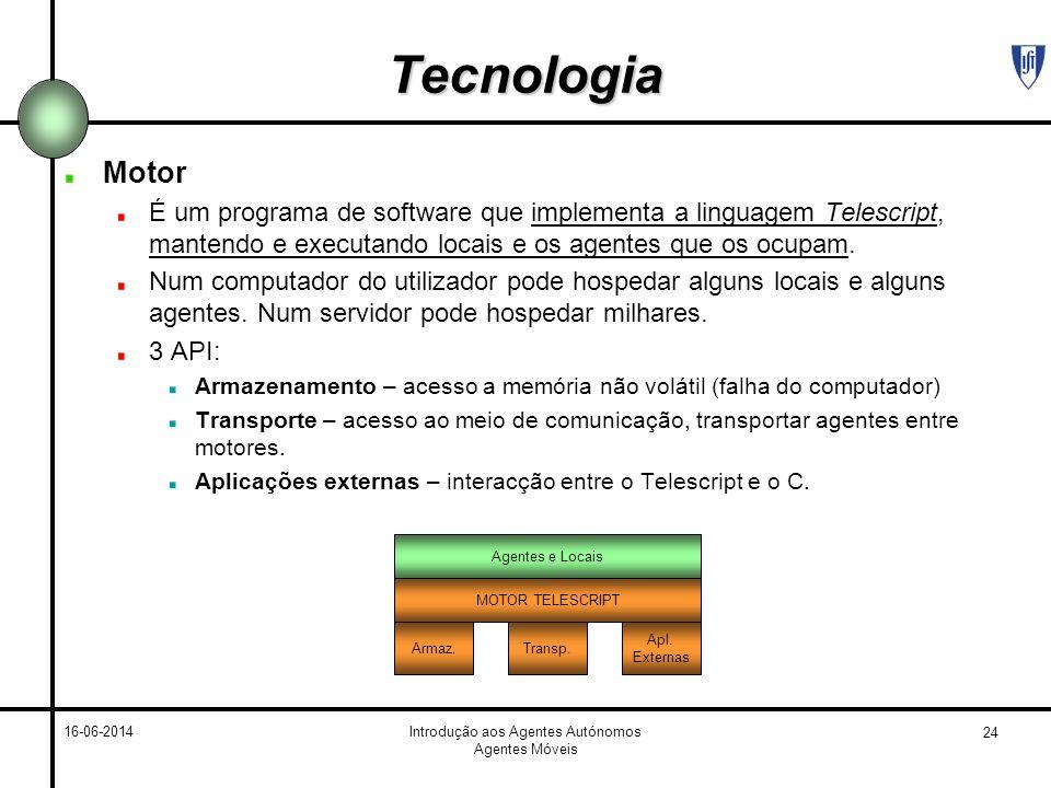24 16-06-2014Introdução aos Agentes Autónomos Agentes Móveis Tecnologia Motor É um programa de software que implementa a linguagem Telescript, mantendo e executando locais e os agentes que os ocupam.