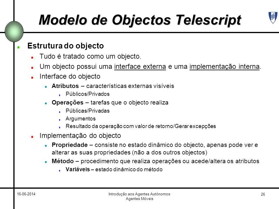 26 16-06-2014Introdução aos Agentes Autónomos Agentes Móveis Modelo de Objectos Telescript Estrutura do objecto Tudo é tratado como um objecto. Um obj