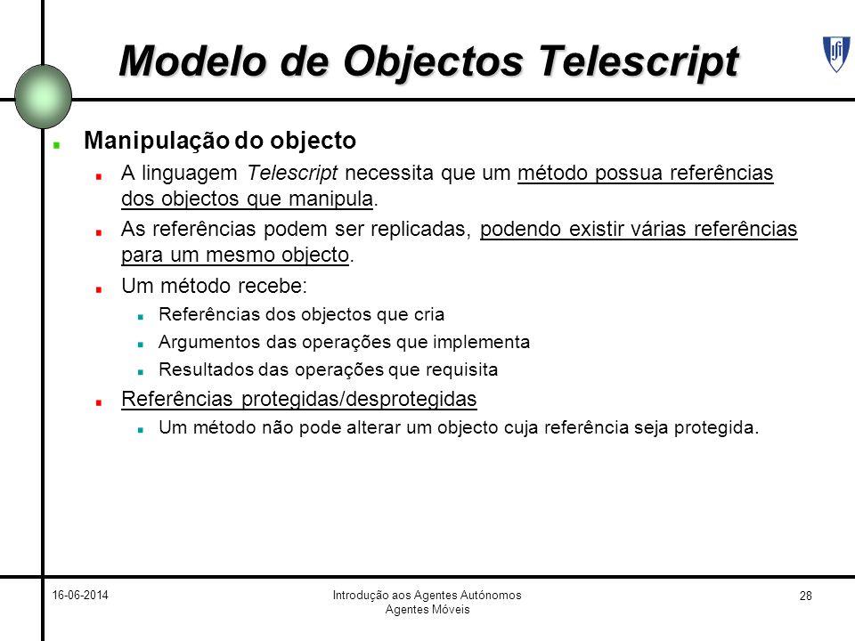 28 16-06-2014Introdução aos Agentes Autónomos Agentes Móveis Modelo de Objectos Telescript Manipulação do objecto A linguagem Telescript necessita que um método possua referências dos objectos que manipula.