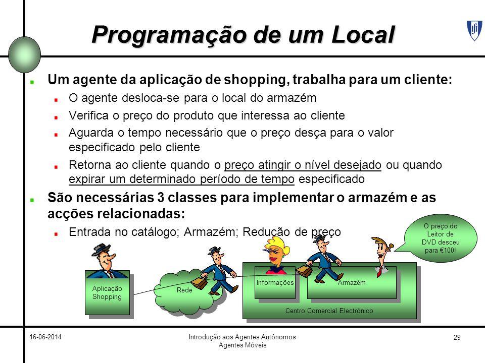 29 16-06-2014Introdução aos Agentes Autónomos Agentes Móveis Programação de um Local Um agente da aplicação de shopping, trabalha para um cliente: O a