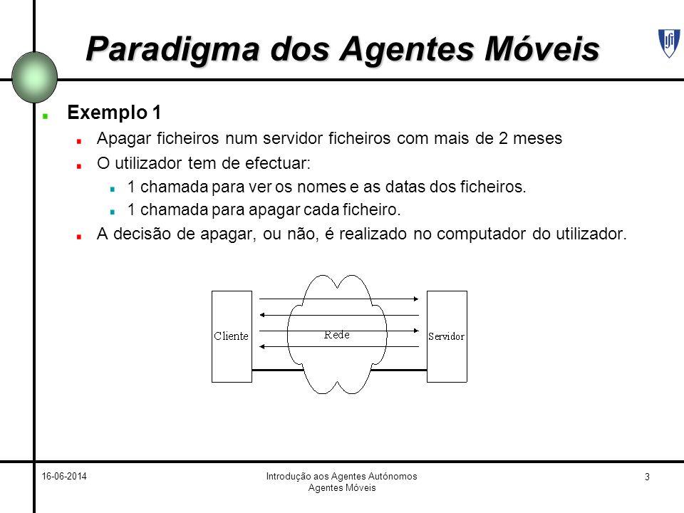 3 16-06-2014Introdução aos Agentes Autónomos Agentes Móveis Paradigma dos Agentes Móveis Exemplo 1 Apagar ficheiros num servidor ficheiros com mais de