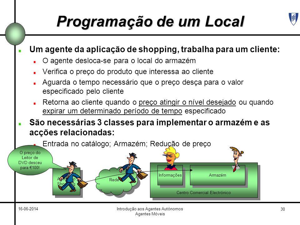 30 16-06-2014Introdução aos Agentes Autónomos Agentes Móveis Programação de um Local Um agente da aplicação de shopping, trabalha para um cliente: O a
